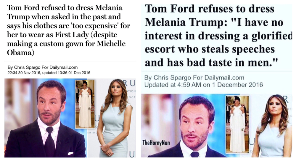 The real DailyMail article (left) & the doctored version (right)