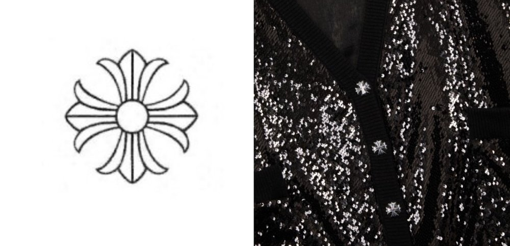 Chrome Hearts' trademark (left) & one of The Kooples' sweaters (right)