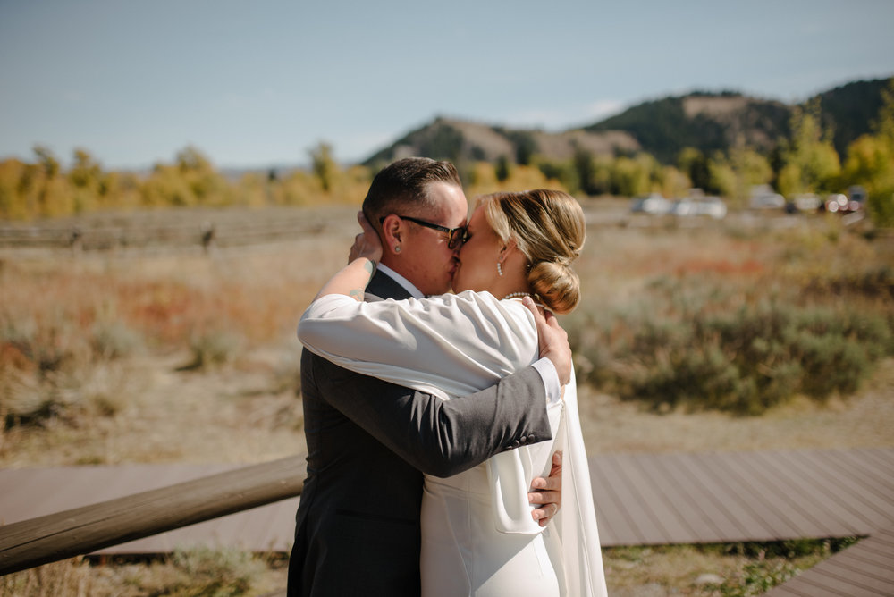Just Married Couple in Grand Teton National Park, Jackson Hole WY Photographer