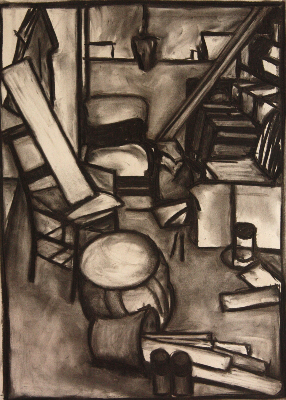 Clutter001, Charcoal on paper