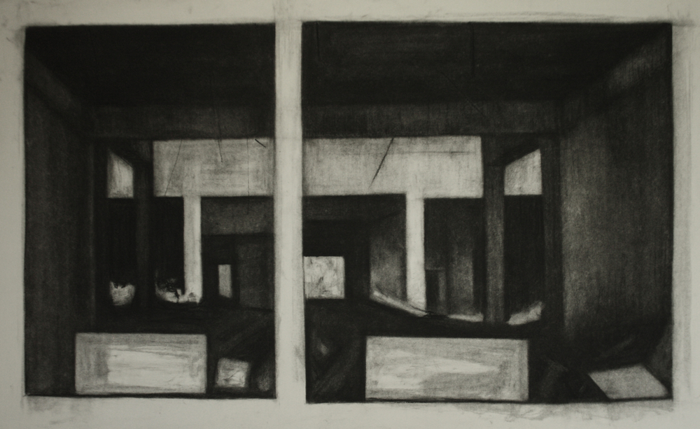 Detroit Series 006, Charcoal on paper, 44x75.5cm