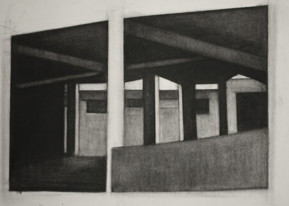 Detroit Series 008, Charcoal on paper, 50x66cm