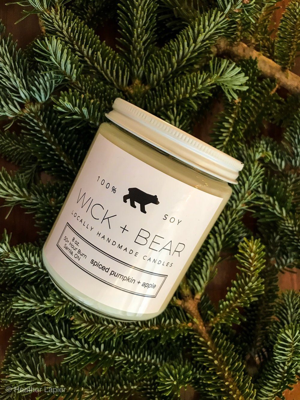 WICK&BEAR CANDLE  - $18 Spiced Pumpkin & Apple Soy candle lead free wax reusable glass container, made locally.