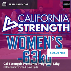 california strength womens program -63kg