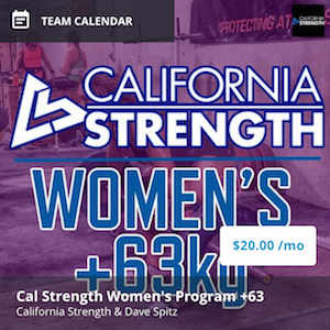 california strength womens program +63kg