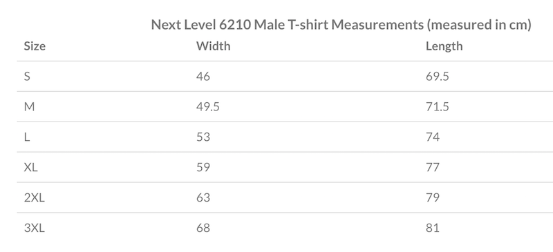 Sizing chart for men's core line tee shirt
