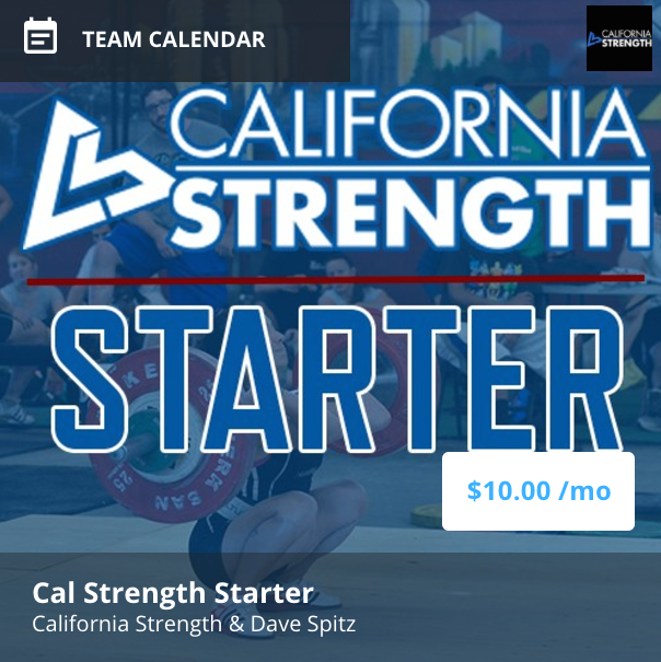 california strength starter IS AN ONLINE STRENGTH PROGRAM designed FOR those who want to learn the olympic lifts specifically snatch and clean & Jerk.