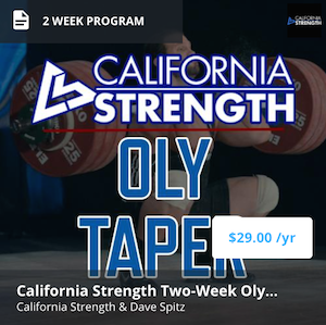 olympic weightlifting taper (peak) program on trainheroic