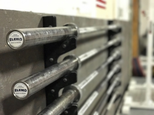 eleiko barbells inside of the california strength facility