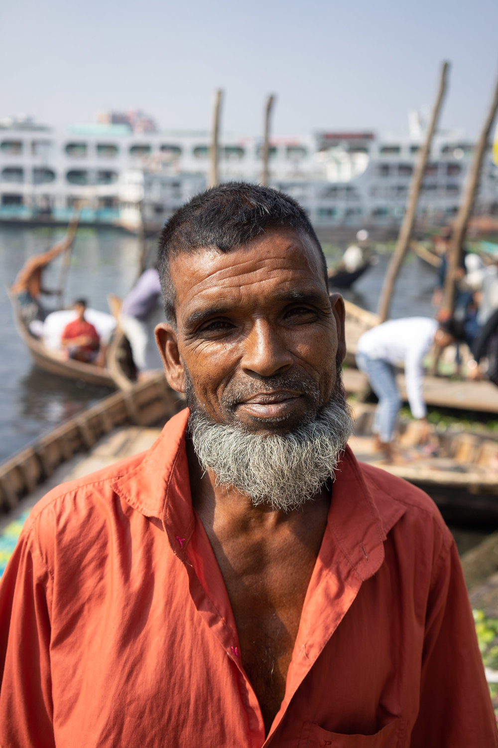 Shiraz, 55 years old, from Madaripur. He has been working on the Buriganga in Dhaka for 40 years. He used to drink this water, but now he says he would never dare.