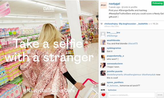 instagram contest idea nasty gal stranger selfie pollen advertising