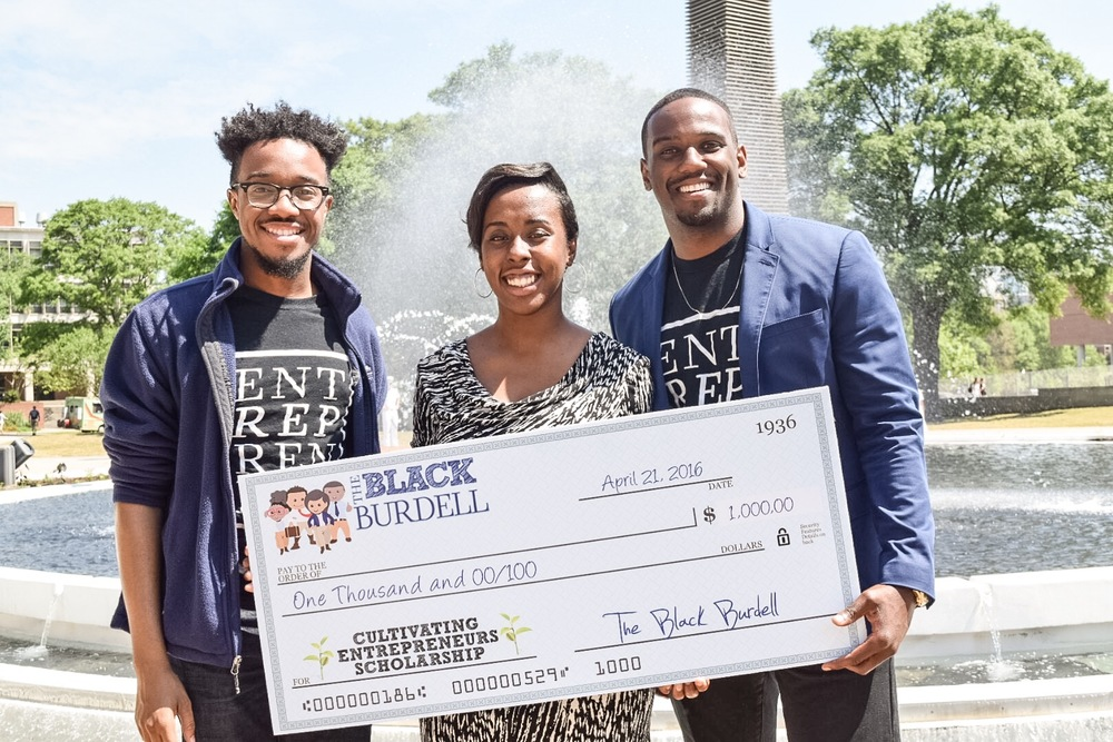 Co-Founder - Henderson Johnson II, Scholarship Winner - Michole Washington, Co-Founder - Brandon Miller