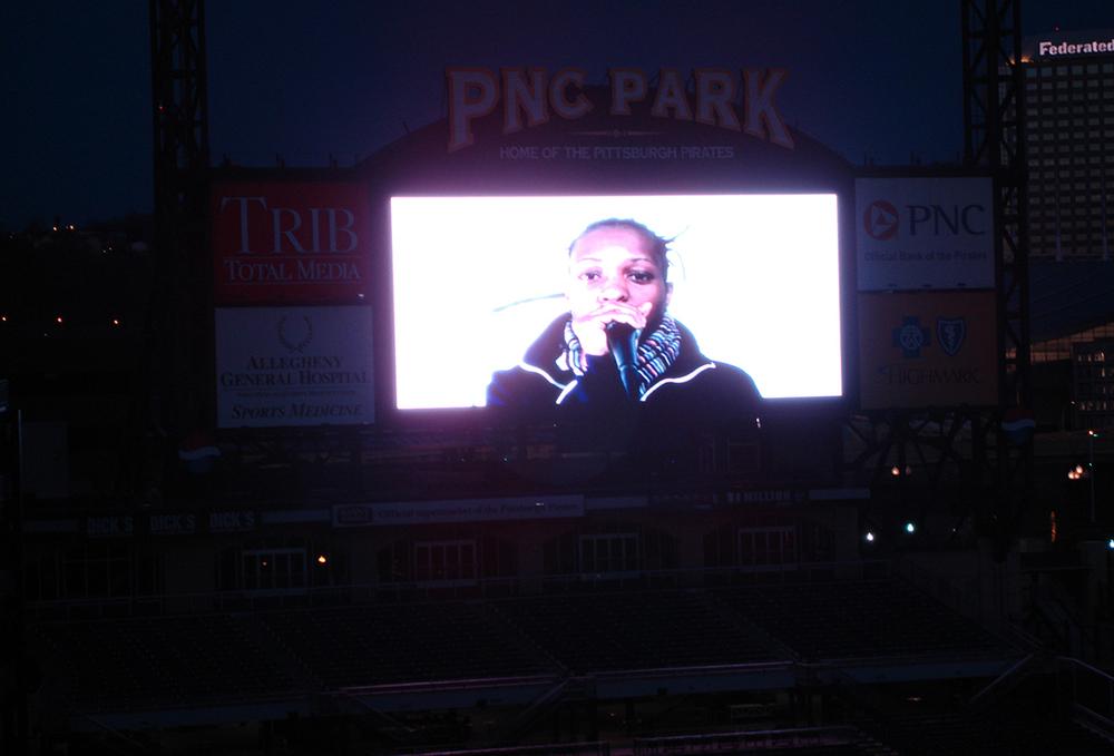For Sha-Rock ,  2008,  performance, video, 1minloop, PNC Baseball Park jumbotron. ( see video )