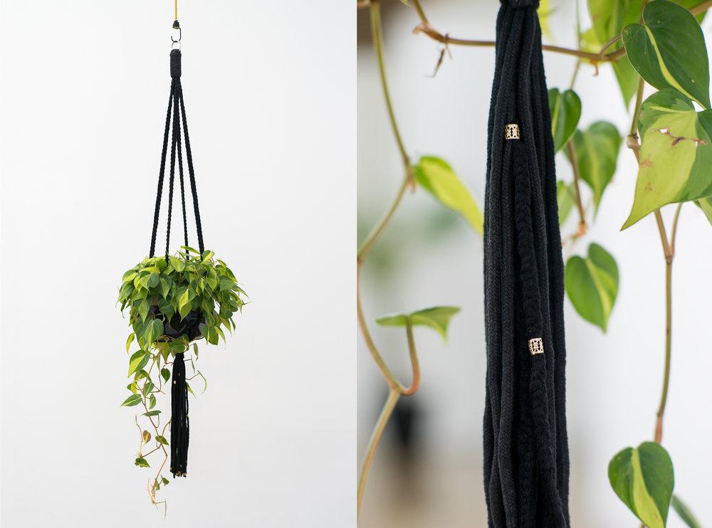 In your secret garden , 2017, plant, pot, macrame, braids, filigree, bungee cord, (detail)