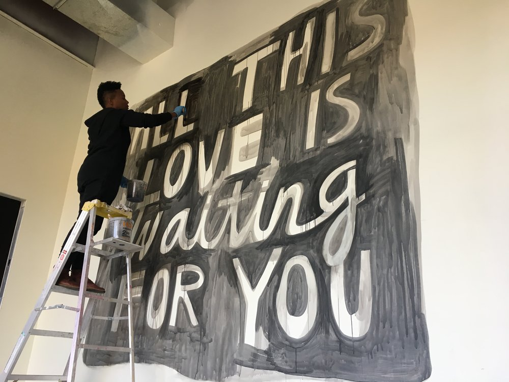 All This Love , 2017, ink wash, wall drawing