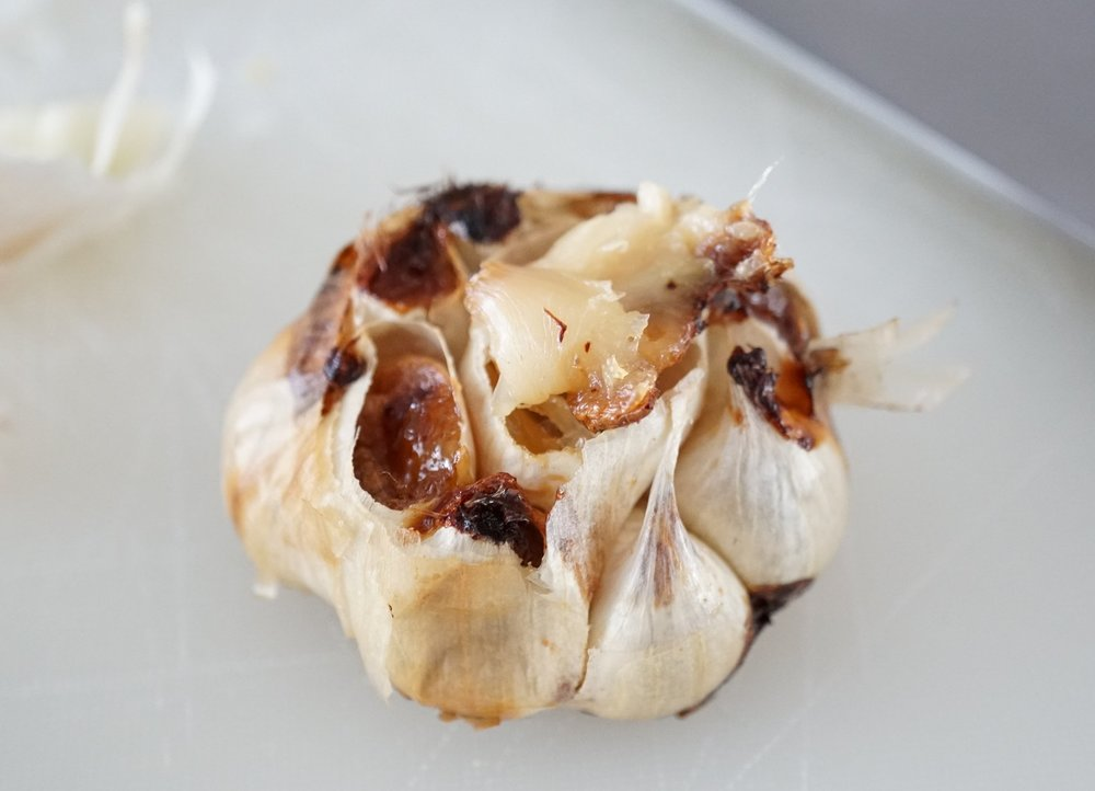 this is what the roasted garlic should look like, and it will easily squeeze out of the skin.