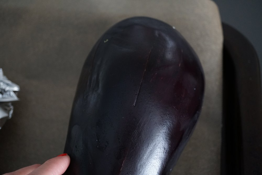 make shallow slits in the eggplant before roasting.