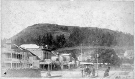 Historic view of Mt Victoria from the foot of the main street