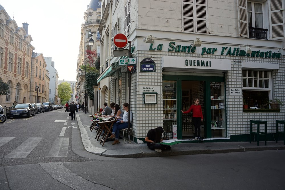 There are great vegan / vegetarian places in Paris. You have to search them out and, of course, get whoever is traveling with you to agree.