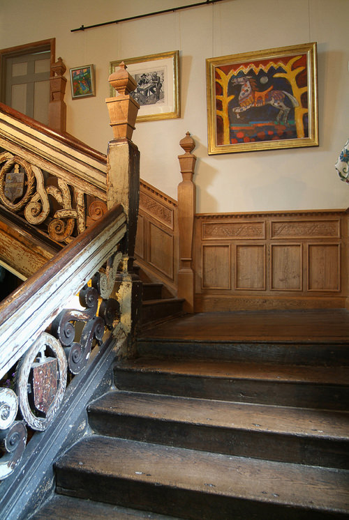 An early 17th century oak staircase
