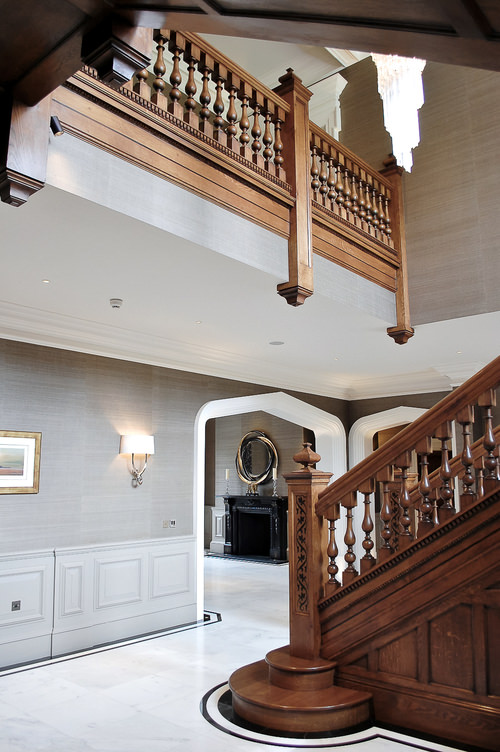 Large oak staircase and balusterade gallery Georgian inspired