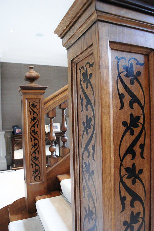 Inlaid decorative newel post