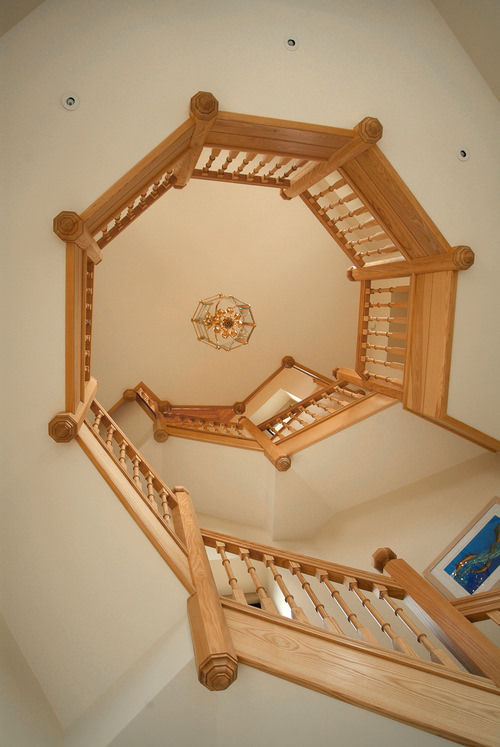 Octagonal ash Staircase with finials and newel posts