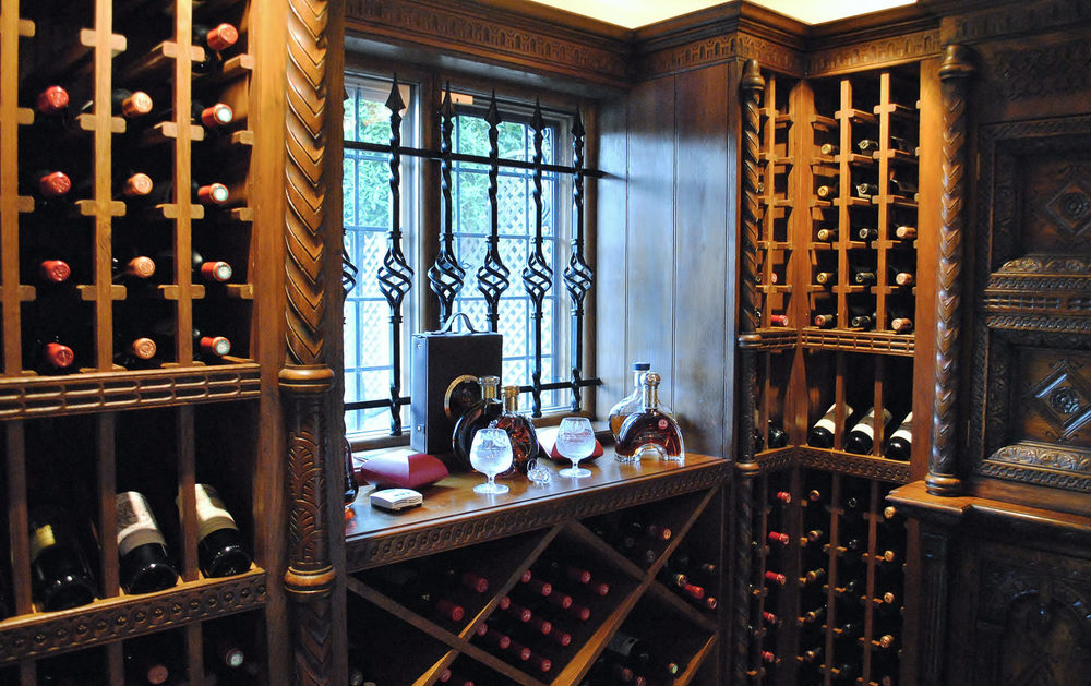 Bespoke wine room with oak wine racks