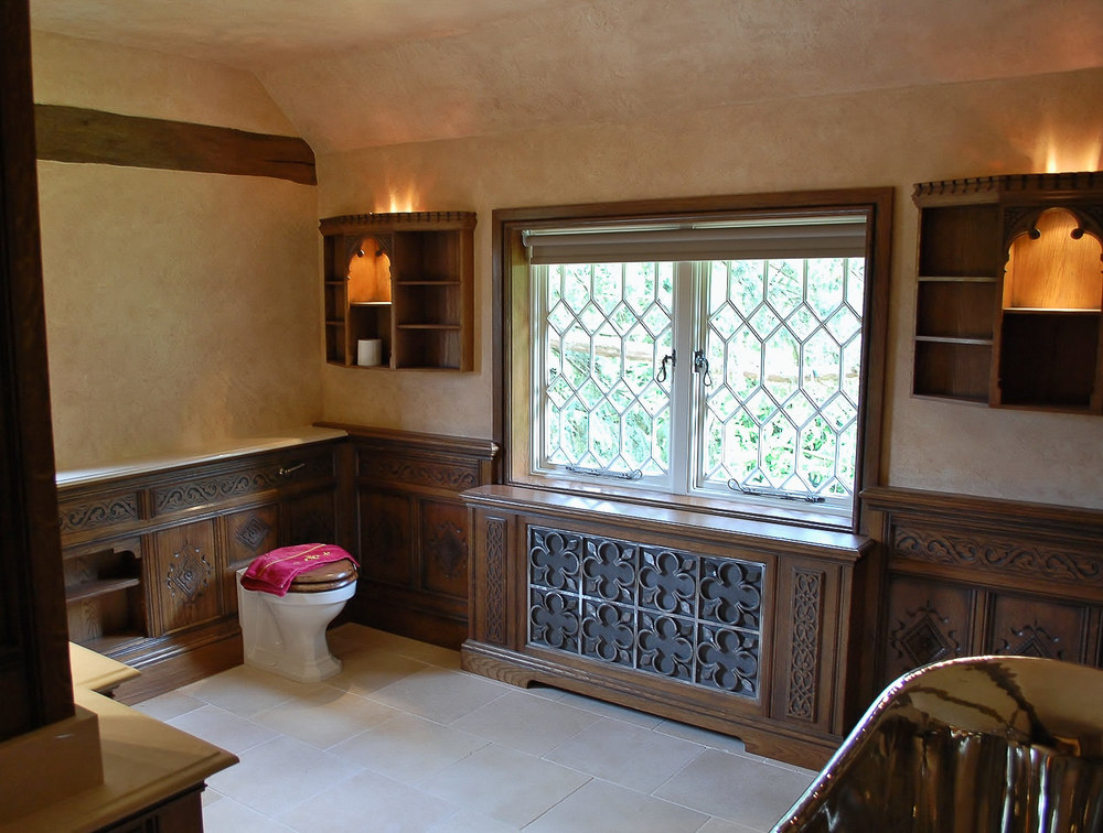 Oak panelled bathroom