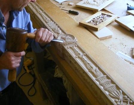 Hand carving a 16th century style bed for the royal aprtments at stirling castle