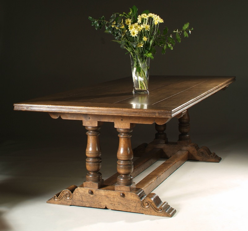 Bespoke oak trestle table with turned legs