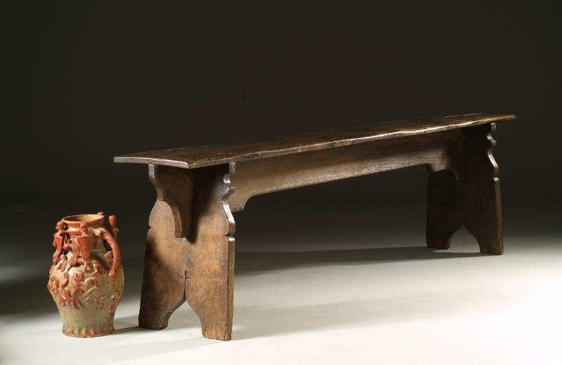Tudor style oak bench