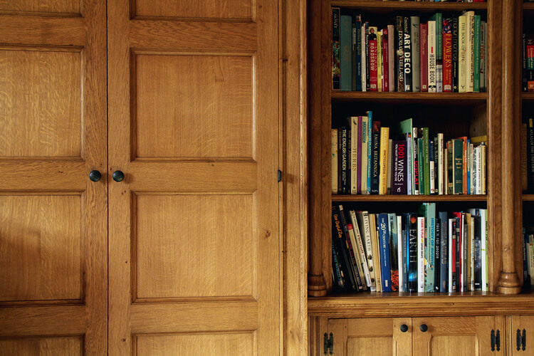 Solid oak panelled library doors and book shelving.jpg ... & Arts and Crafts Library //Project 840 pezcame.com