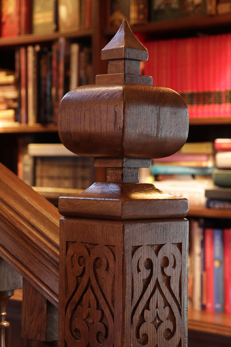 Large Newel Post And Finials With Hand Carved Decoration