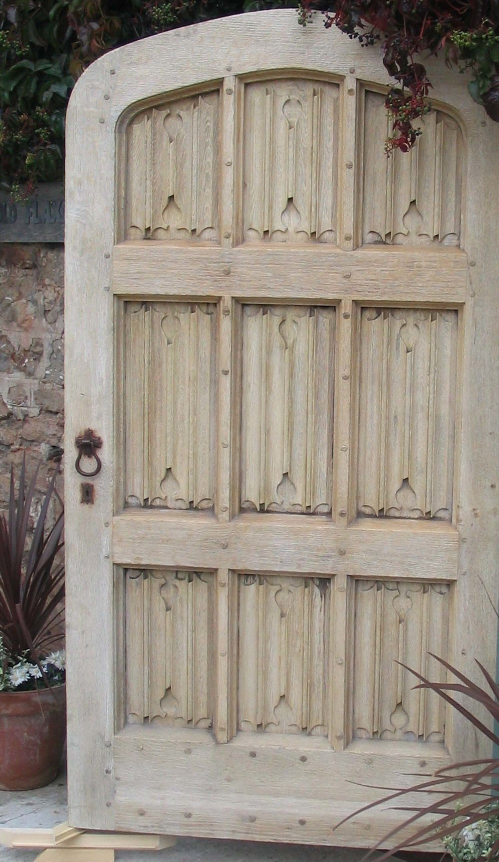 Hand Carved Linenfold Panelled Door & Tudor Oak Doors and Gothic 16th 17th Century Carved Styles