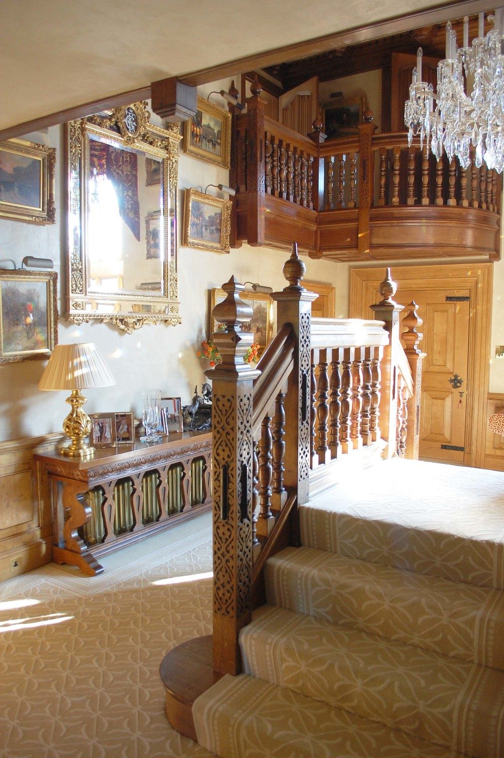 16th and 17th century Gothic and Tudor style period staircases and balsutrading hand carved newel posts and finials