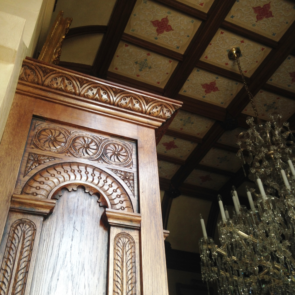 Carved panel of a 16th century style oak overmantel