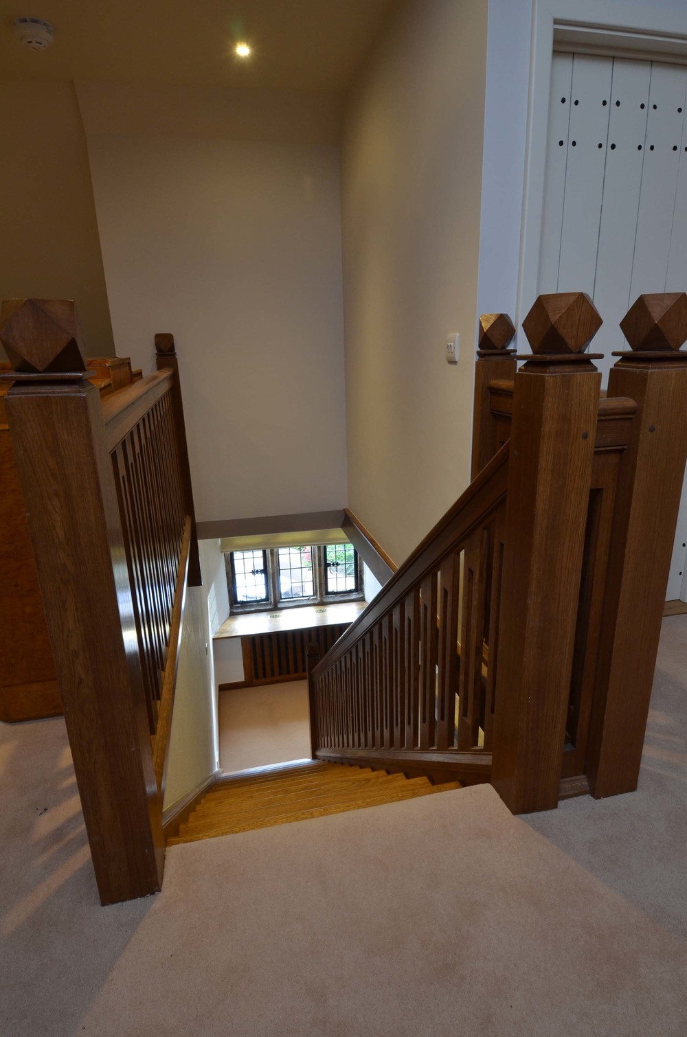 29 Period style staircase hand made in solid oak with period mouldings and oak handrail.jpg
