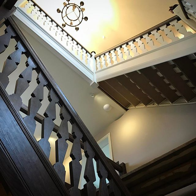 New #oak and painted staircase being installed. Can't  wait to see how this looks all finished!  #interiorarchitecture #interiordesign #woodcarving #architexture #architectural #architecturephotography ##architecturalphotography #interiors #handcrafted #joinery #woodworking