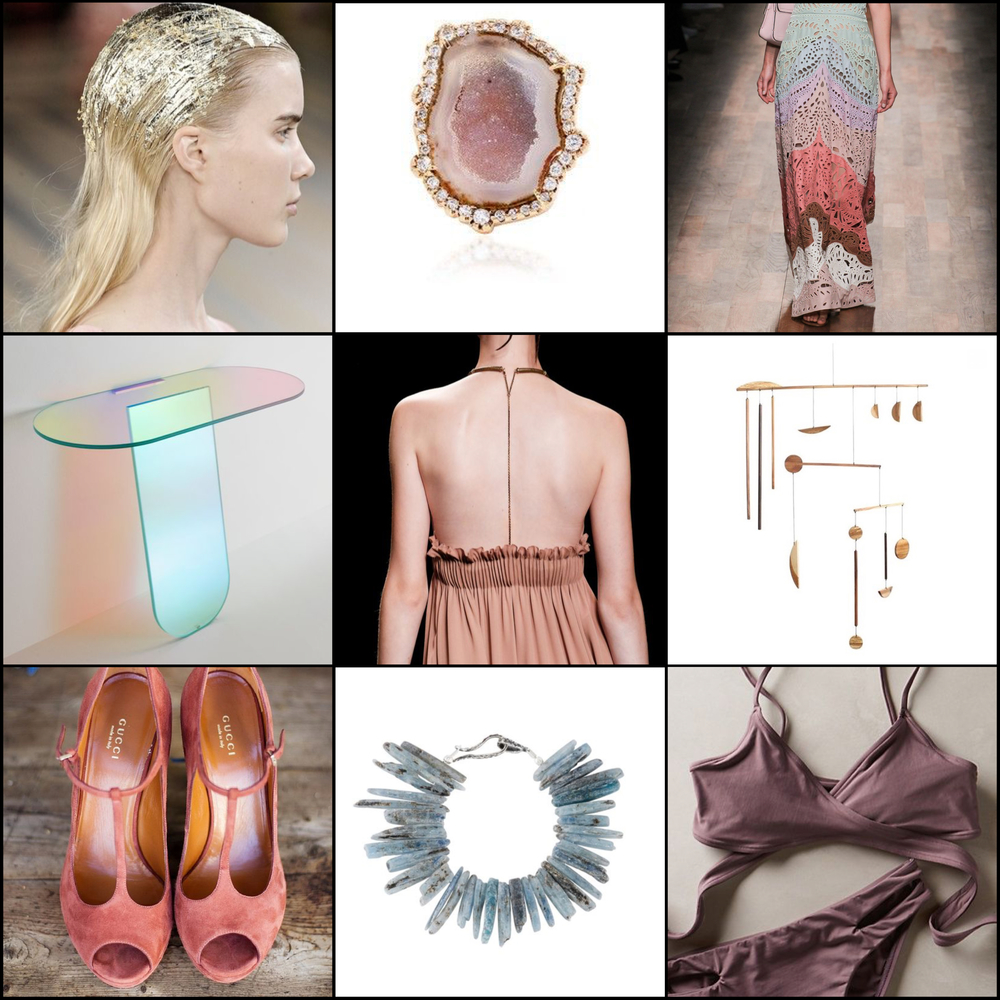 Gold leaf hair: NYFW 2016. Geode and irregular diamond ring: Kimberly Mcdonald, Moda Operandi. Pastel eyelet dress: Valentino ready to wear 2015.  Shimmer table: Patricia Urquiola.  Chain-Back dress: Valentino ready to wear 2016.  Apple extra-large Mobile, Fort Makers, Aha Life.  Salmon Suede Shoes, Gucci. Blue-green kyanite bracelet: Lauren Wolf Jewelry, Gilt.  L-Space Chloe Top, L-Space, Anthropologie.