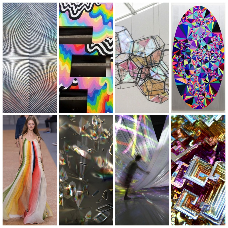 Sylvia Hommert, Hematite via Artspace. Jen Stark, Rainbow Mural Los Angeles via High Fructose. Opal Geo Wall Hanging. Satoshi Ohno, prisim. dark night. via artsy. Chloe rainbow dress Spring 2016 via Vogue. Thomas Ruff, phg.o4_II via artsy. Nobuhiro Shimura, Fall in Pop, fabric light sculpture via yellowtrace. Bismuth Crystal.