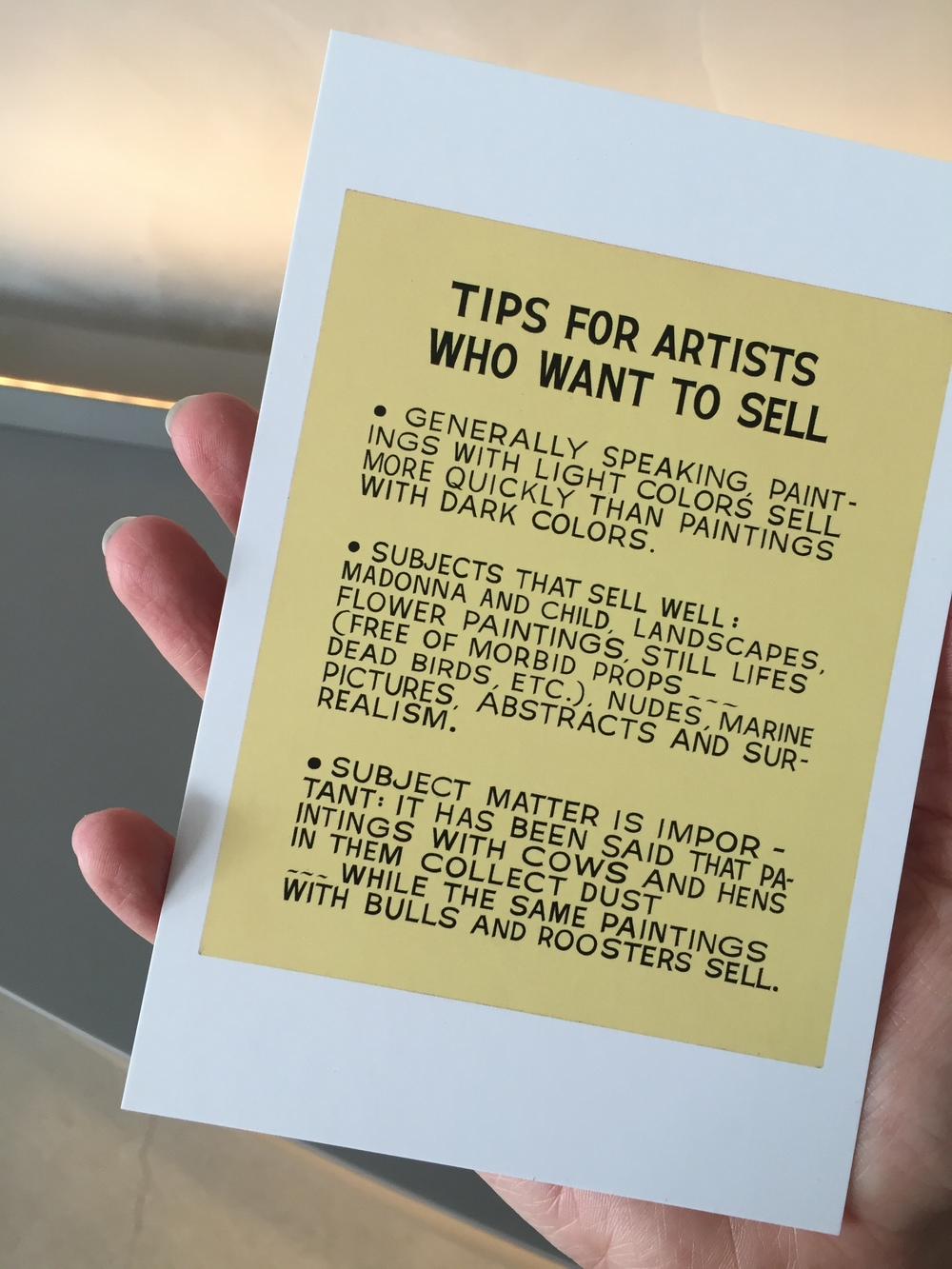 John Baldessari, Tips For Artists Who Want To Sell, 1966-68, via postcard at Broad giftshop