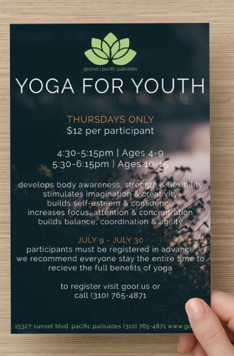 Goorus Yoga for Youth Flyer