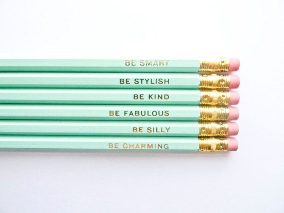 Gentle Reminders Pencils  Mint And Gold, ...