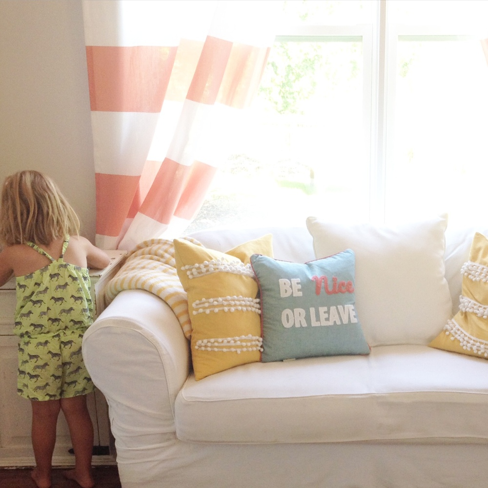 Striped Curtains and Playroom