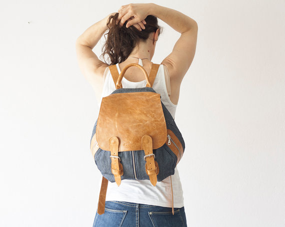 Denim and Brown Leather Backpack