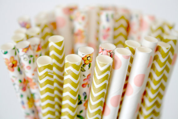 gold and pink party straws