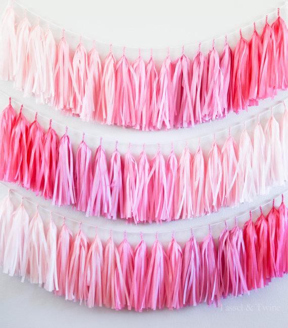 pink ombre tassel garland