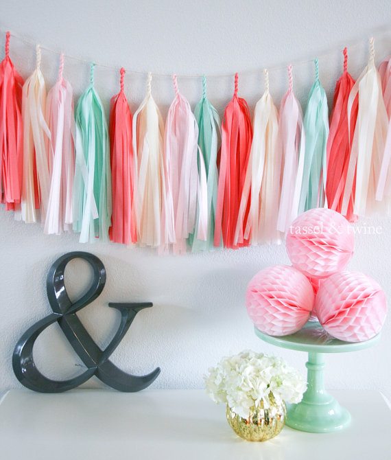 coral, pink, and blue garland