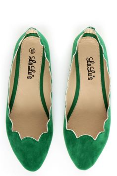 Green Flat Suede Shoes